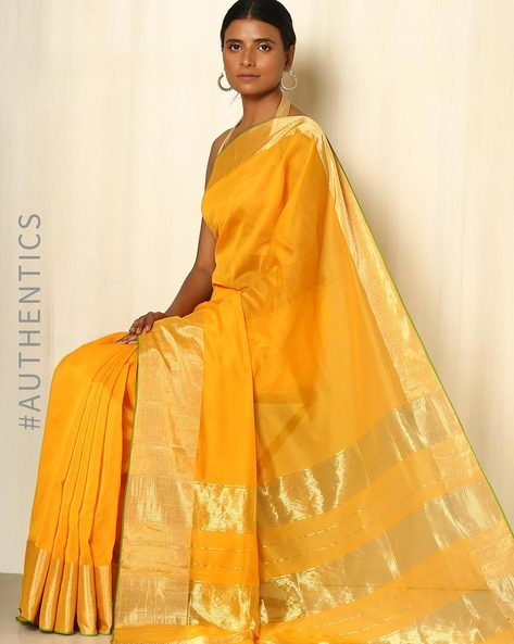 Handwoven Maheshwari Cotton Silk Saree By GoCoop ( Yellowgold ) - 460041349001