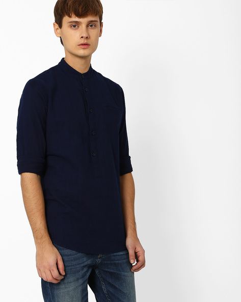 Slim Fit Popover Shirt By ADAMO LONDON ( Indigo )