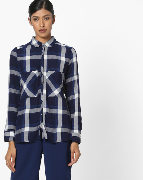 Checked Shirt With Patch Pockets By DNMX ( Blue )