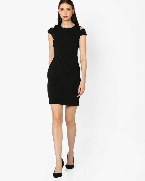 Cold-Shoulder Bodycon Dress By AJIO ( Black )