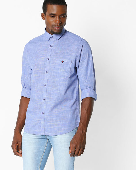 Regular Fit Shirt With Patch Pocket By VIMAL APPARELS ( Blue )