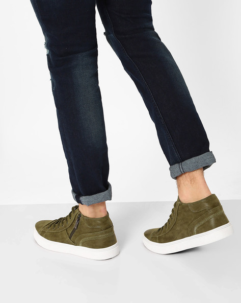 Panelled Mid-Top Sneakers By AJIO ( Olive )
