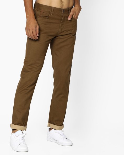5-Pocket Slim Fit Trousers By AJIO ( Brown )