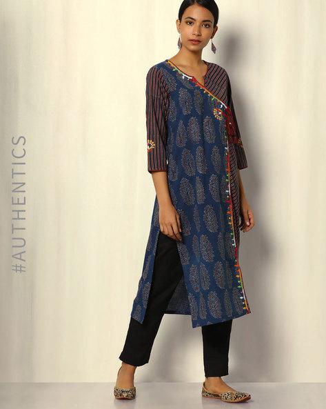 Ajrak Handblock Print Angarkha Cotton Kurta With Embroidery By SWADESH ( Blue )