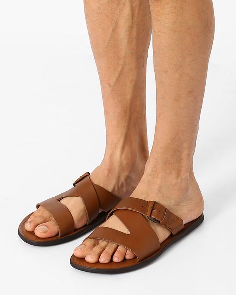Leather Sandals With Buckle By USPA ( Tan )