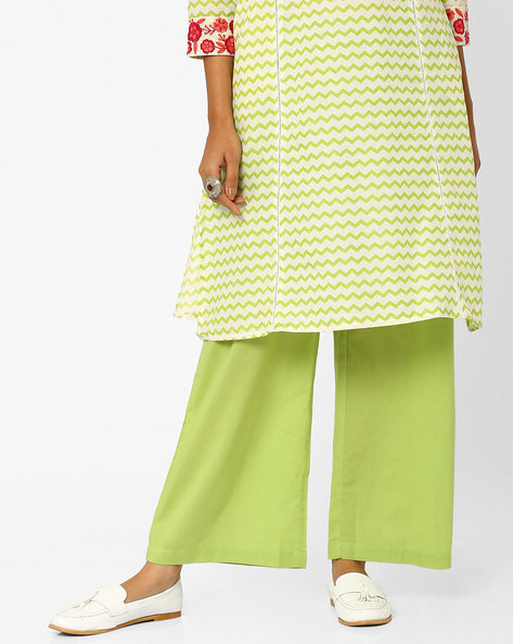 Palazzo Pants With Elasticated Waistband By AJIO ( Green )