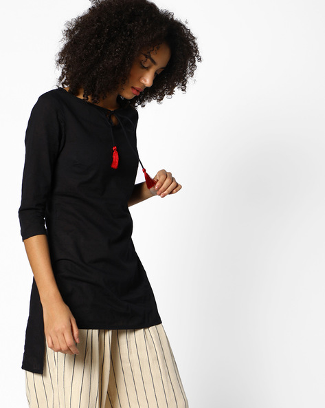 High-Low Tunic With Tassel Tie-Up By AJIO ( Black )