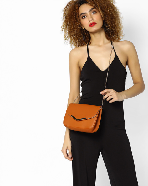 Sling Bag With Drop-In Chain By FUR JADEN ( Tan )