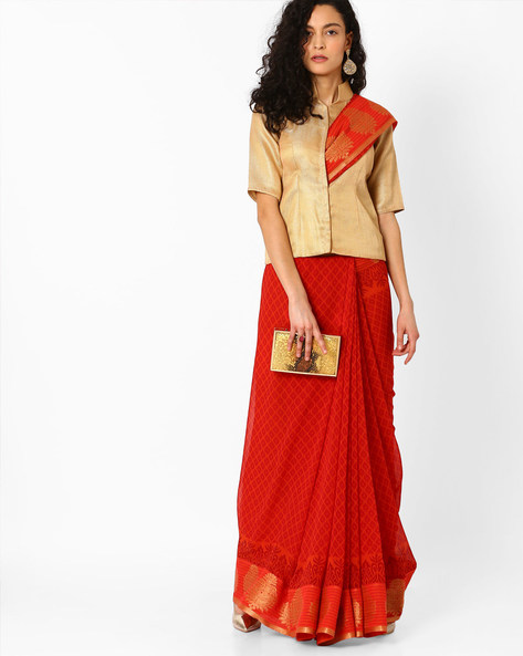 Printed Saree With Woven Border By Pihu ( Red )