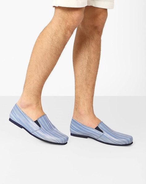 Thread Print Slip-On Shoes By Funk ( Blue )