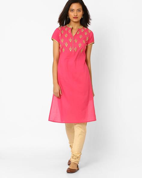 Straight Kurta With Mandarin Collar By AJIO ( Pink )