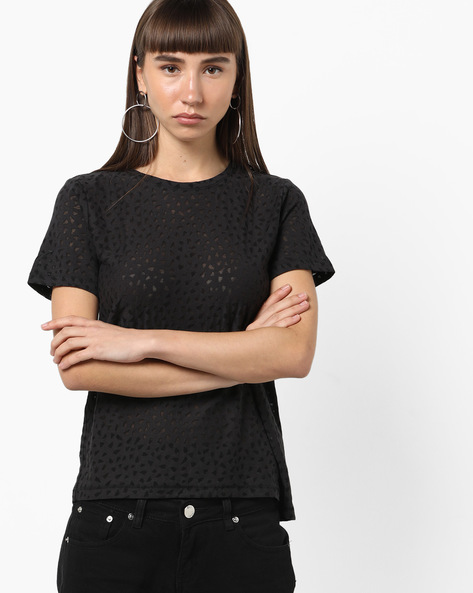 Crew-Neck T-shirt With Cut-Outs By Only ( Black )