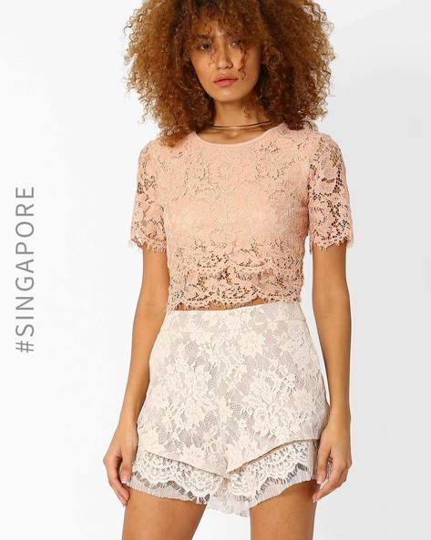 Lace Crop Top By MDS ( Pink )