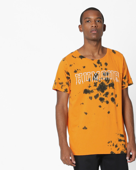 Tie & Dye Print T-shirt By ADAMO LONDON ( Orange )