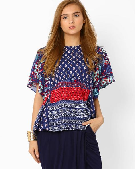 Printed Panelled Top By AJIO ( Navyblue )