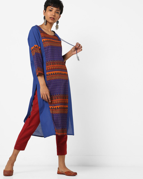 Printed Round-Neck Straight Kurta By Melange By Lifestyle ( Blue )