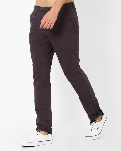 Mid-Rise Cotton Chinos By NETPLAY ( Navy )