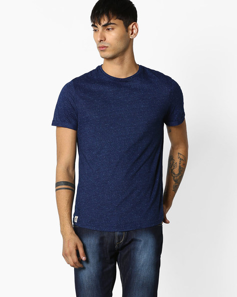 Speckle Print Crew-Neck T-shirt By Celio ( Indigo )