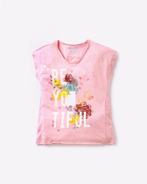 Embellished Top With Floral & Typographic Print By POINT COVE ( Pink )