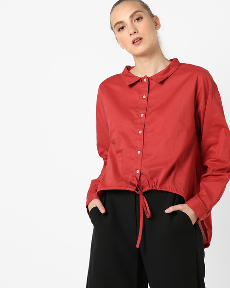 High-Low Shirt Top With Tie-Up By Rena Love ( Rust )