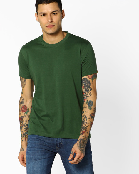 Graphic Print Cotton T-shirt By BLOTCH ( Olive )