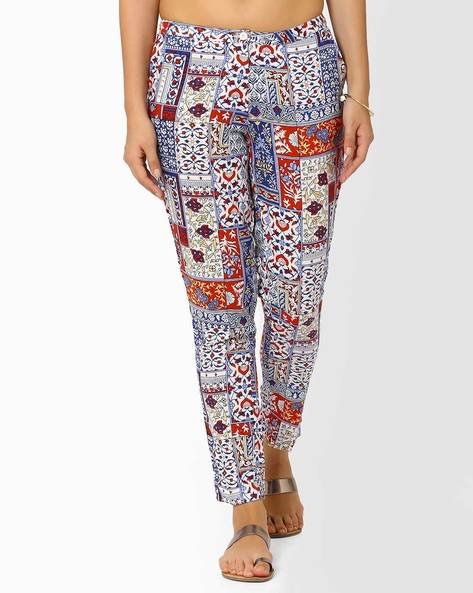 Printed Pants By AJIO ( Blue )