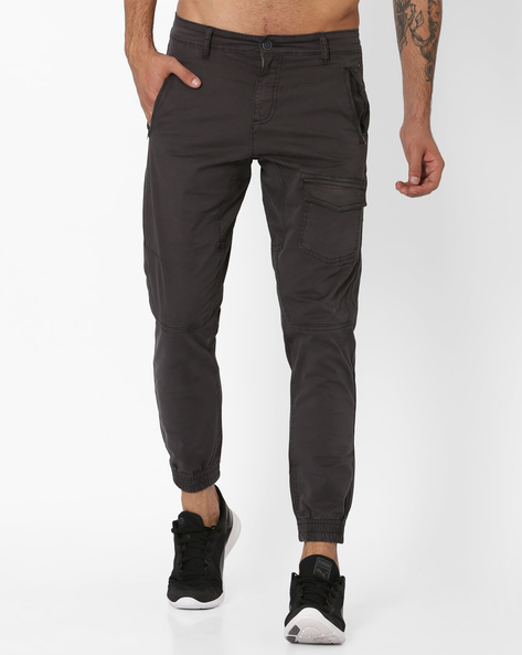 Twill Weave Cargo Joggers By AJIO ( Charcoal )