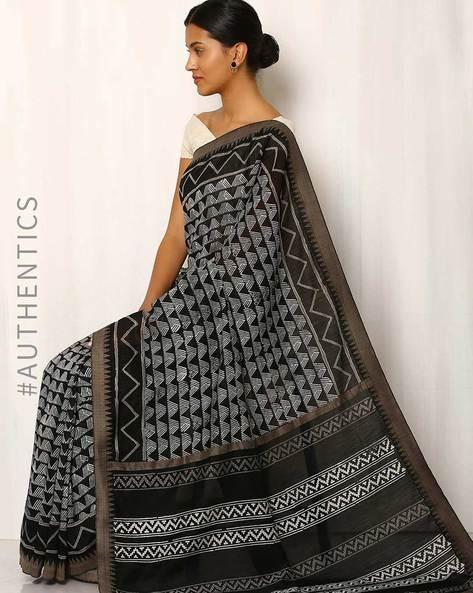 Patri Printed Chanderi Saree With Ghicha Border By Indie Picks ( Black )