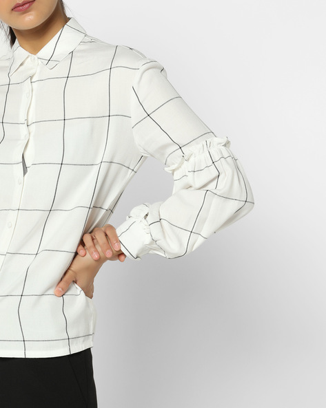 Windowpane Check Shirt With Bishop Sleeves By AJIO ( White )