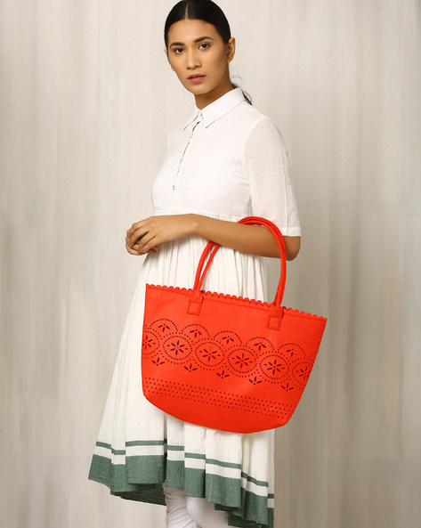 Felt Handbag With Cutwork By Indie Picks ( Red )