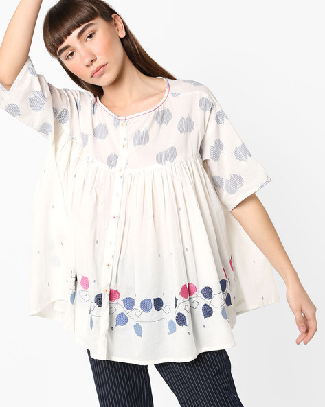 Flared Top With Embroidery By AJIO ( White )
