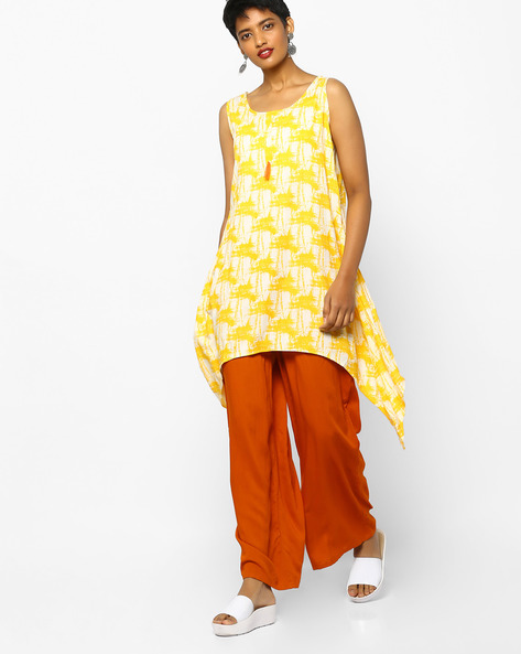 Printed Tunic With Asymmetric Hemline By Project Eve IW Casual ( Yellow )