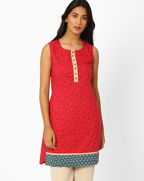 Printed Kurta With Contrast Hem By AJIO ( Maroon )
