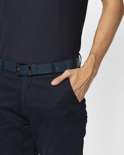 Textured Genuine Leather Belt By ALVARO CASTAGNINO ( Blue )