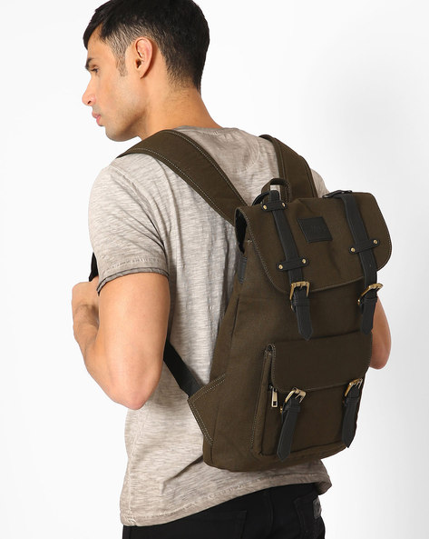 Rucksack-Style Backpack With Drawstring Closure By FAMOZI ( Olive )