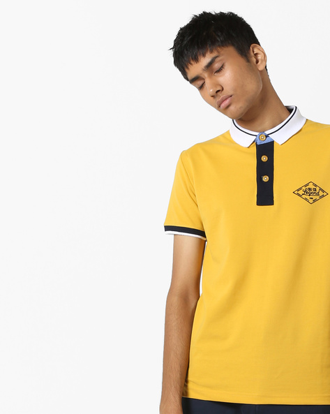 Polo T-shirt With Contrast Collar By DUKE ( Yellow )
