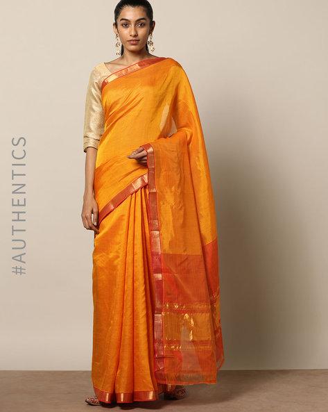 Handloom Mangalgiri Rib Check Cotton Silk Saree By Indie Picks ( Rust )