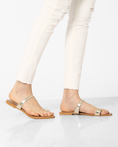 Faux-Leather Toe-Ring Flats By AJIO ( Gold )