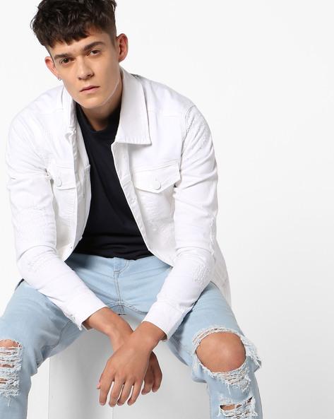 Distressed Denim Jacket By ADAMO LONDON ( White )