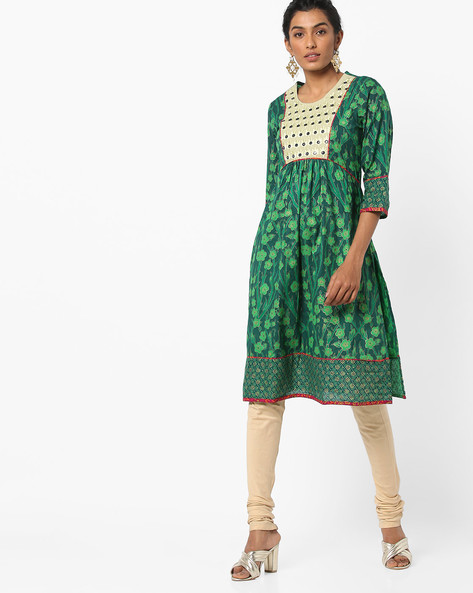 Floral Print Tunic With Embroidered Overlay By Jiyaa ( Green )
