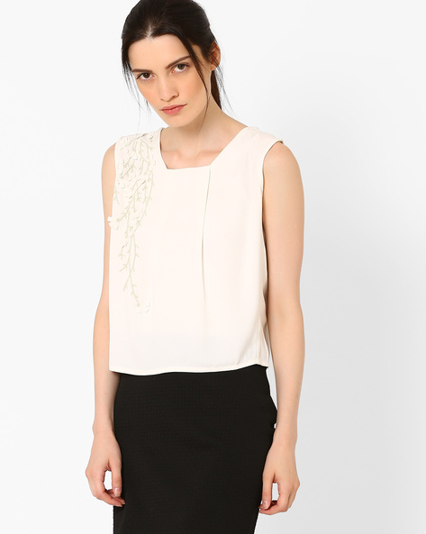 Boxy Top With Embellishments By AJIO ( Offwhite )