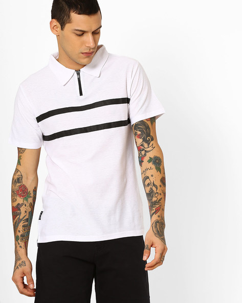 Polo T-shirt With Textured Stripes By Blue Saint ( Multi )