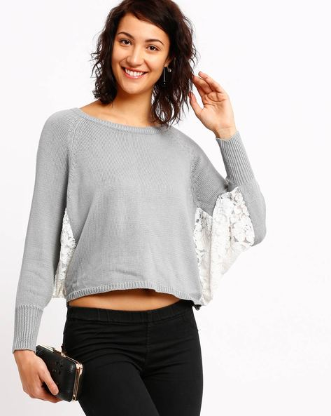 Sweater With Lace Batwing Sleeves By RIO ( Greymelange )