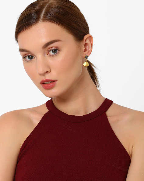 Gold-Plated Hydro Handmade Drop Earrings By DWS ( Blue )