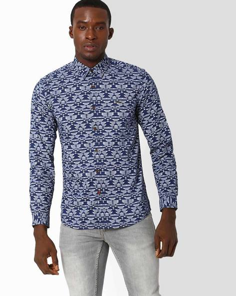 Geometric Print Slim Fit Shirt By WRANGLER ( Blue )