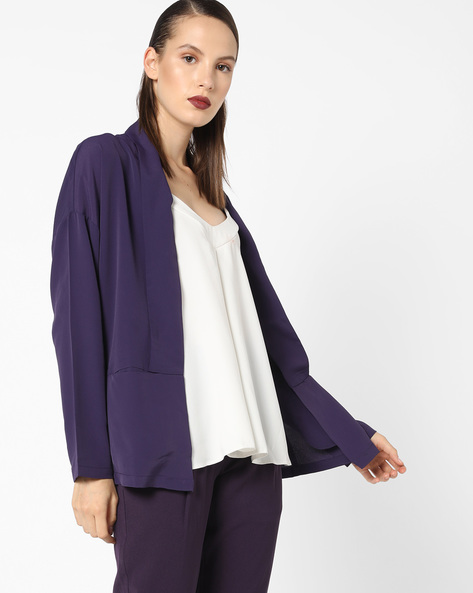 Front-Open Blazer With Shawl Lapel By AJIO ( Purple )