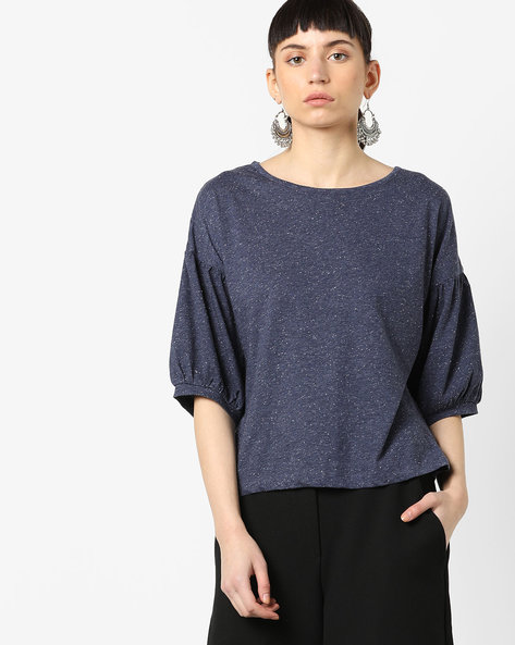 Speckled Top With Drop Shoulders By AJIO ( Blue )