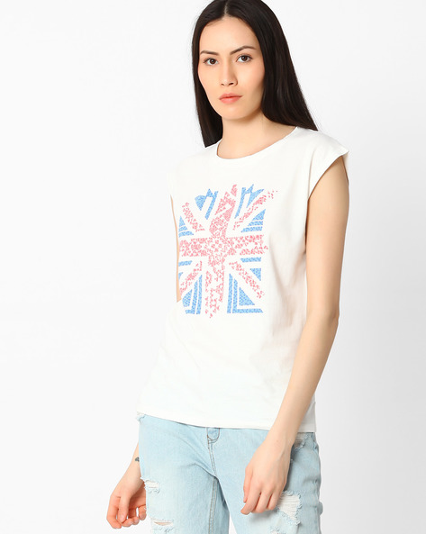 Printed T-shirt With Cap Sleeves By Pepe Jeans ( Offwhite )