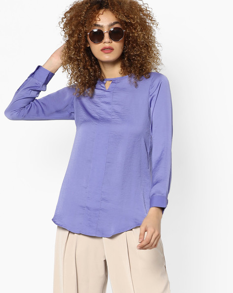 Top With Keyhole Neckline By And ( Brown )