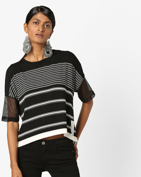 Striped Top With Mesh Sleeves By Teamspirit ( Black )